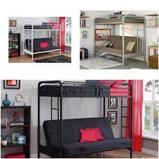 Twin Over Futon Bunk Bed frame w ladder metal kids dorm w w/o mattresses Loft