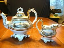 Early 19ThC Museum Quality Hand Painted Gilded Scenic Teapot & Creamer #4