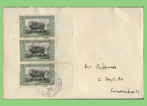 Falkland Islands 1936 ½d strip of three on cover to London