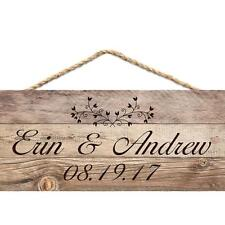 """Personalized Laser Engraved Hanging Sign, Wedding Couple Names & Date, 4.5 x 10"""""""