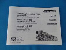 Marklin  F 800 Locomotive with Tender     Replica booklet 1153