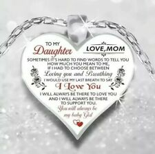 "To My Daughter Necklace Heart Pendant Love MOM- Mother-Daughter Gift w/24""chain"