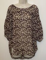 Club Monaco XS SILK Blouse Brown Floral 3/4 Puff Sleeve Relaxed Fit Tunic