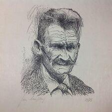 Jan Burssens - Gelithografeerd portret van Stijn Streuvels (94E)