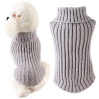 Pet Dog Puppy Winter Warm Turtleneck Soft Knitted Sweater Crochet Clothes p