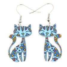 Acrylic Floral Cat Earrings Dangle Fashion Pet Jewelry For Women Accessory Charm