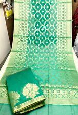 Beautiful Designer indian Anarkali Pure Banarasi Chanderi Dress Material