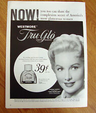 1958 Westmore  Tru-Glo Makeup Ad  Movie Hollywood Star Rhonda Fleming