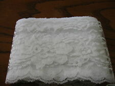 WHITE lace trim #444 4 inch  Raschel scalloped edge polyester  trim 6 3/4 yd