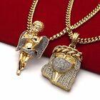 Men's 14k Gold Plated High Fashion 2 pcs Jesus & Angel 3mm 30