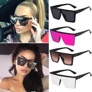 Oversized Square Sunglasses Women Fashion Flat Top One Piece Shade Mirror UV400