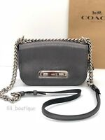 NWT New Coach 22720 Swagger 20 Shoulder Bag Leather Metallic Graphite Grey $325