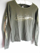 HARLEY DAVIDSON S Women OLIVE Green THERMAL TOP Long Sleeve T Shirt Yucca Valley
