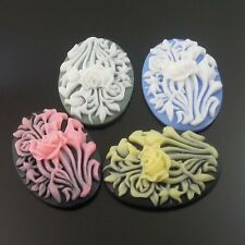 20X Mixed Color Flowers Resin Pendants-Themed Cameo 25*18*6mm