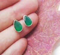 Indischer Smaragd grün Tropfen Design Ohrringe Ohrstecker 925 Sterling Silber