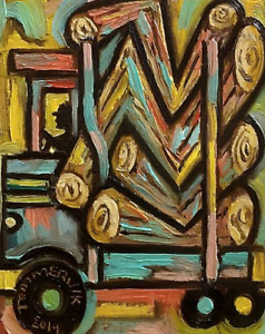 Colorful Abstract Art Logging Log Truckl Painting For Sale By Artist Tommervik