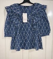 ZARA SS20 BLUE CUTWORK EMBROIDERED PUFF SLEEVES BLOUSE V-NECK SIZE XL BNWT