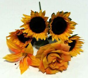 """Mixed Large Blooms 6-Stem 14"""" Bush Faux Silk Flower Vase Home Decors US BP2060"""