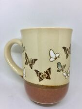 Vintage 80's BUTTERFLY Coffee Mug Cup Embossed & Hand Painted Stoneware OtagirI