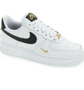 New Nike Air Force 1 Low White Black Gold Women's Size 6-11 Sneakers CZ0270-102
