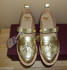 Dr Martens ABRIL Gold Anilmorbido Tassel Mary Shoes Made in England NIB US 11