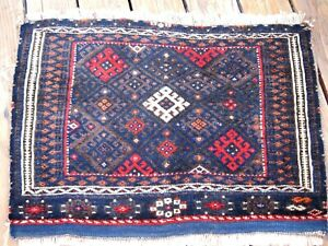 AMAZING  ANTIQUE 1900  KURDISH  BAG FACE FULL PILE    BLUE COLOR