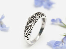 Oriental Bali Marcasite Band Ring SOLID 925 STERLING SILVER, ART DECO 58mm Q 3/4