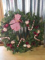 Vintage Christmas plastic Wreath Holly Berries Red Apples Pine Cones Mid Century