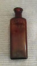 """Vintage 6"""" brown glass bottle pharmacy OD Chemical NY medical scientific FREE SH"""