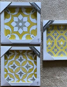 Madison Park Framed Gel Coated Paper Set Of 3 With Yellow Finish NEW