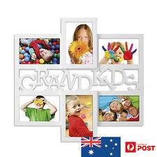 UNIGIFT 6 IN 1 WOODEN COLLAGE PHOTO FRAME GRANDKIDS WHITE XMAS BIRTHDAY GIFT NEW
