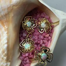 Gelbgold 585 Opal-halbe Perle a 0,75 ct Anhänger & Ohrringe & Ring Set Kleeblatt