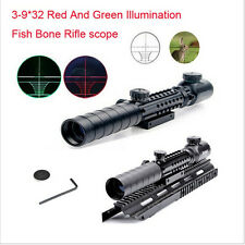 Tactical Airsoft 3-9X32EG Red/Green Rifle Scope Fit 20MM Rail Mount Hunting New
