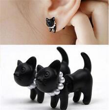 Punk Cool Black Stereoscopic pearl Cat Kitten Impalement Stud Earring 1 Pair