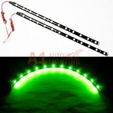 "2x NEW 30cm/12"" Green LED Strip Footwell Under Dash Light Waterproof Exterior"