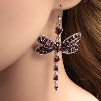 Gorgeous Red Ruby Dragonfly 925 Silver Drop Hook Earrings Women Wedding Jewelry