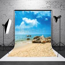 3x5FT Blue Sky Sea Beach Rock Photography Backdrop Vinyl Photo Background Props