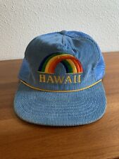 Vintage Kids Hawaii Rainbow Corduroy Snapback Trucker Hat Blue