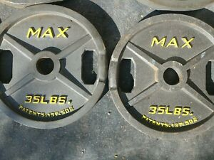 "1 Marcy MAX Grip 35lbs Barbell Weight Plate 2"" Hole Diameter Olympic"