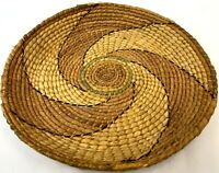 """Vintage 19"""" Hand Made Woven Egyptian North African Poly Chrome Straw Tray Basket"""