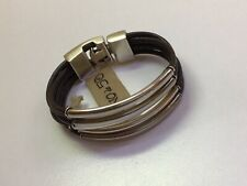 NWT Uno de 50 Multi Layer Silver-plated/Leather Strand Bracelet