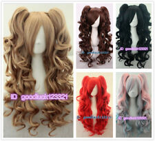 70cm Long Curly Wave 2 clip in ponytail Lolita cosplay Full wig + free wig cap