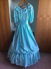 Turquoise/sky blue satin bridesmaid dress