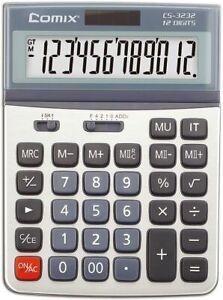 Comix Desktop Calculator Dual Powered Adjustable Display Angle 12 Digits CS-3232