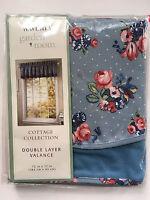 Waverly Garden Room Cottage Collection Hillside Blue Valance 72 x 17 Floral Rose