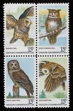 #1763a 15c Owls, Se-Tenant Block, Mint **ANY 4=FREE SHIPPING**