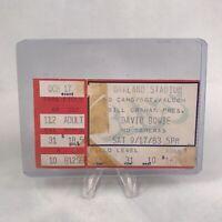 David Bowie Oakland Stadium California Concert Ticket Stub Vintage Sep 17 1983