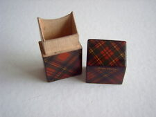 TARTAN WARE NEEDLE CASE - PRINCE CHARLIE TARTAN - 5.5 cms TALL - KNIFE BOX SHAPE