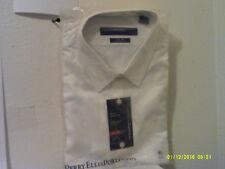 NEW PERRY ELLIS MEN'S DRESS SHIRT  WHITE w/ WHITE PIN STRIPES..SIZE 17.5--34/35