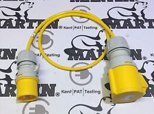Marten® 110V Adapter 16a Plug to 32a Coupler Socket 1 Meter Lead Yellow Cable